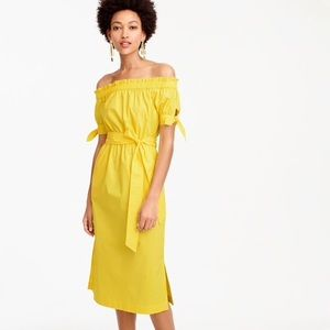 J Crew Yellow Off Shoulder Midi Dress